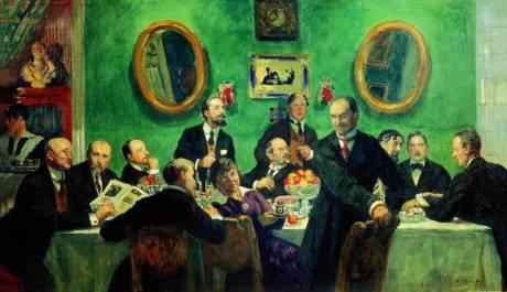 B.Koustodiev_Les membres de Mir Iskousstva_1916-1920